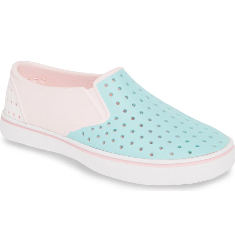 NATIVE SHOES Miles Colorblock Slip-On Vegan Sneaker, Main, color, BLOSSOM PINK/ BLUE/ WHITE