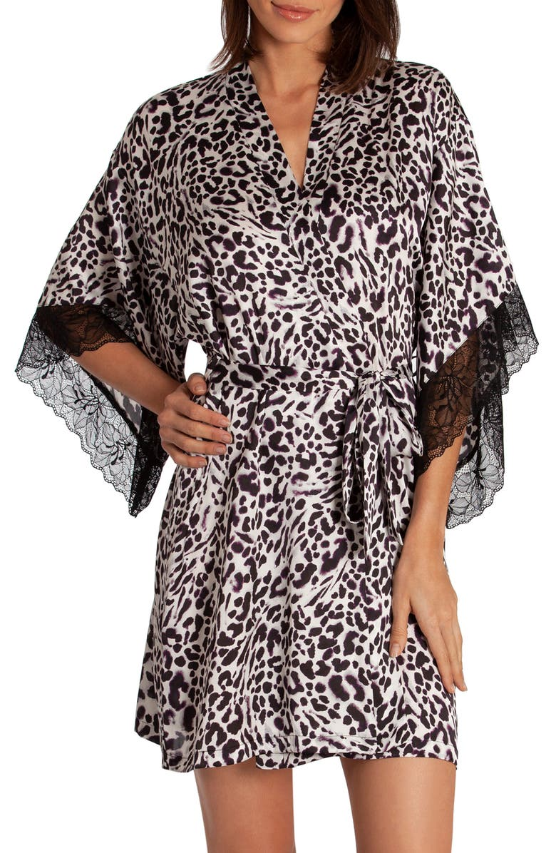 MIDNIGHT BAKERY Raquel Short Robe, Main, color, WHITE/ BLACK