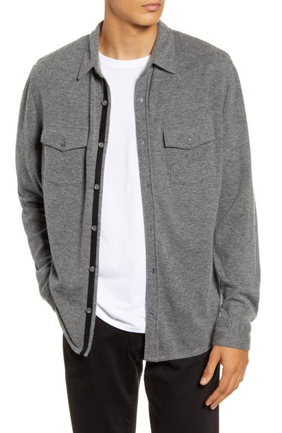 Vince Jackets BUTTON-UP WOOL AND CASHMERE KNIT SHIRT JACKET