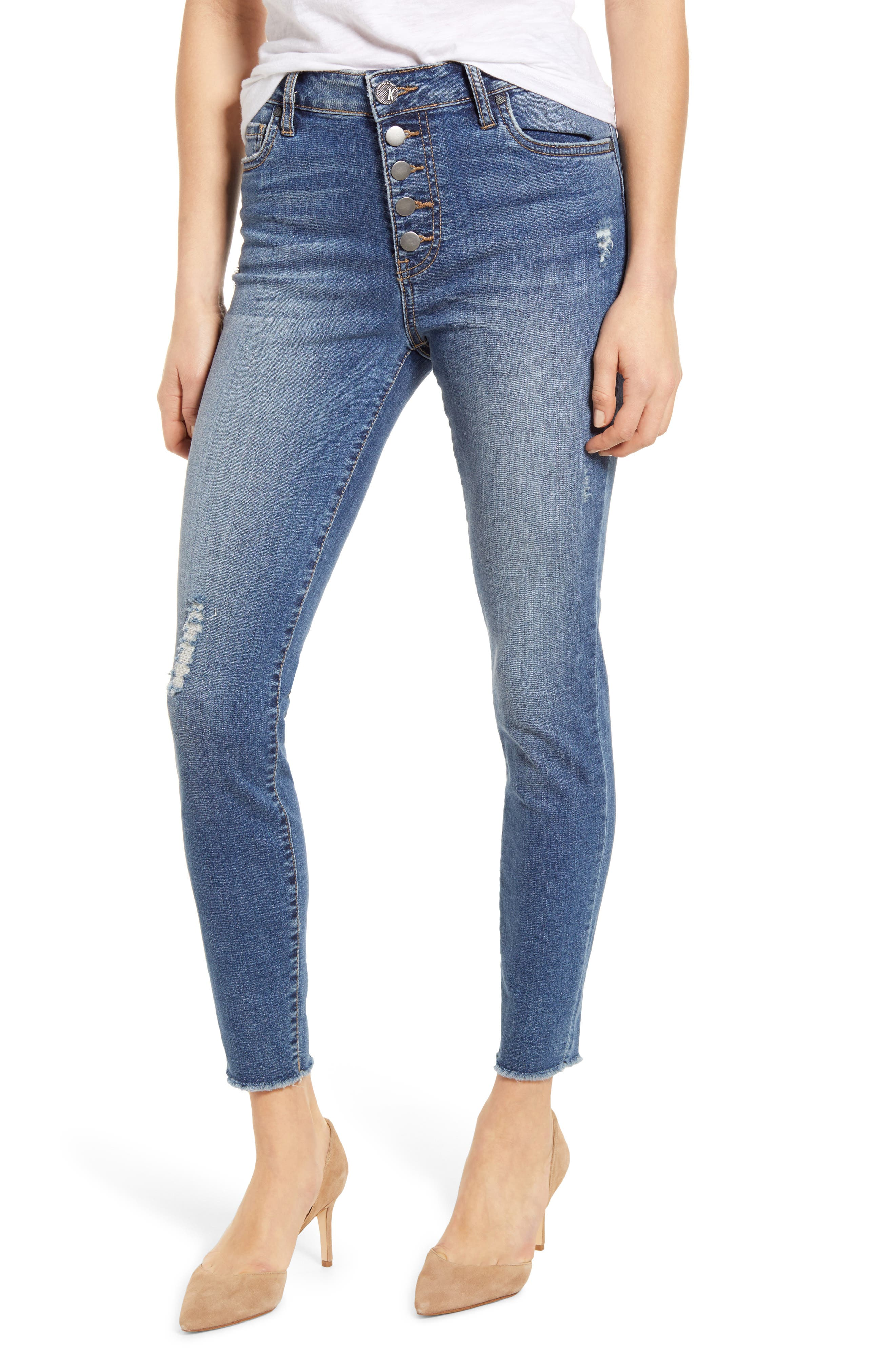 Women's Kut From The Kloth Connie High Waist Distressed Fray Hem Ankle Skinny Jeans,  18 (similar to 14W) - Blue