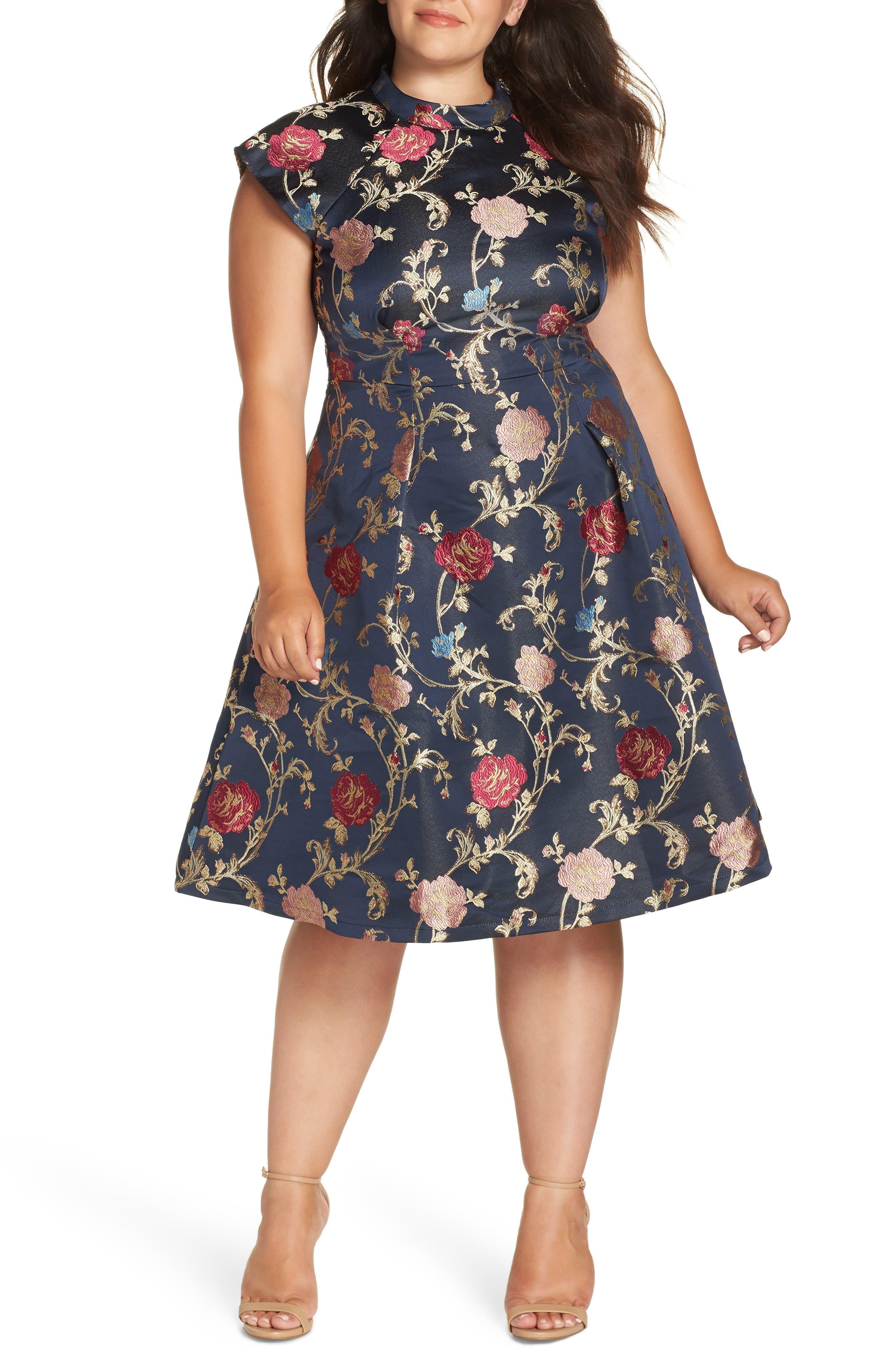 Plus Size Chi Chi London Floral A-Line Dress, Blue