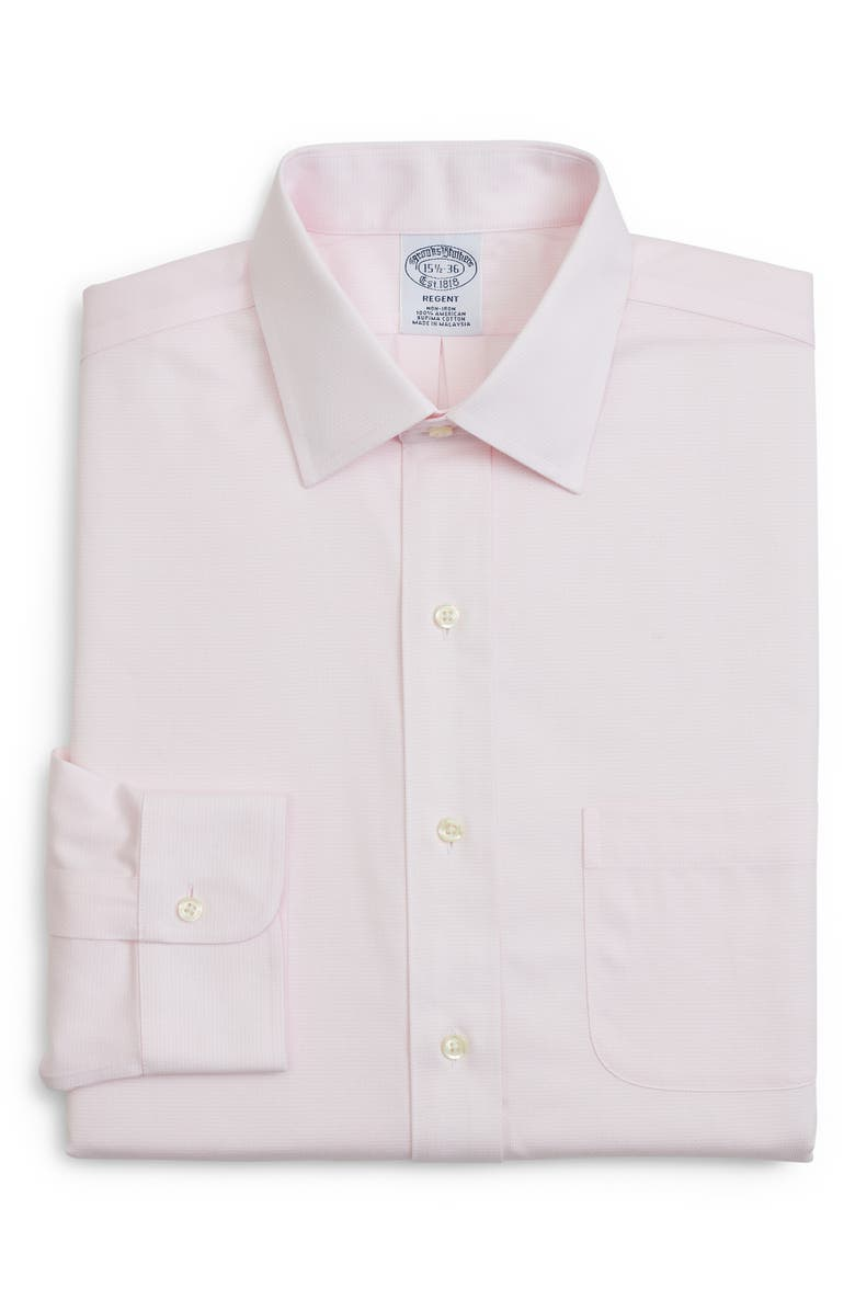 BROOKS BROTHERS Regular Fit Solid Dress Shirt, Main, color, PINK