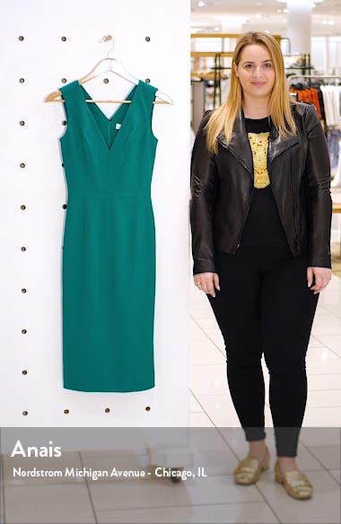 Sandy Plunge Neck Stretch Crepe Sheath Dress, sales video thumbnail