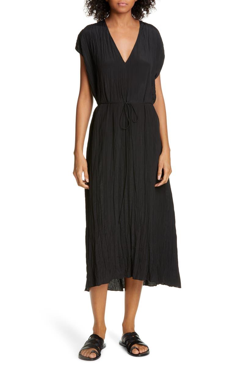VINCE Crinkle Pleat Tie Waist Cap Sleeve Dress, Main, color, BLACK