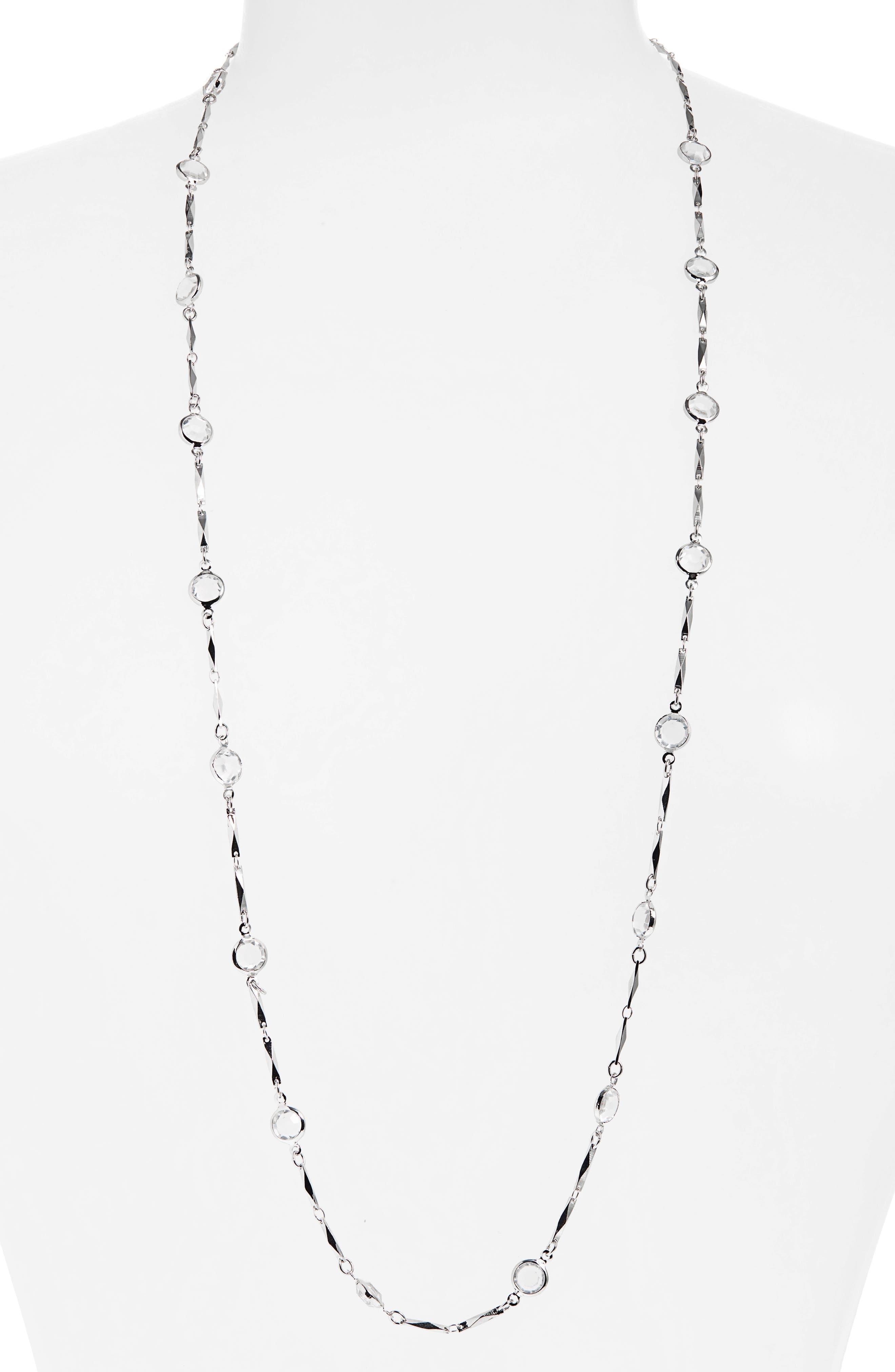 Women's Halogen Long Bezel Station Necklace