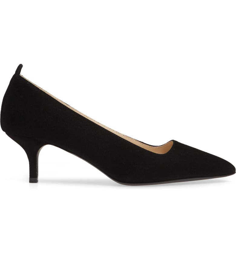EVERLANE The Editor Pointed Toe Kitten Heel Pump, Main, color, BLACK
