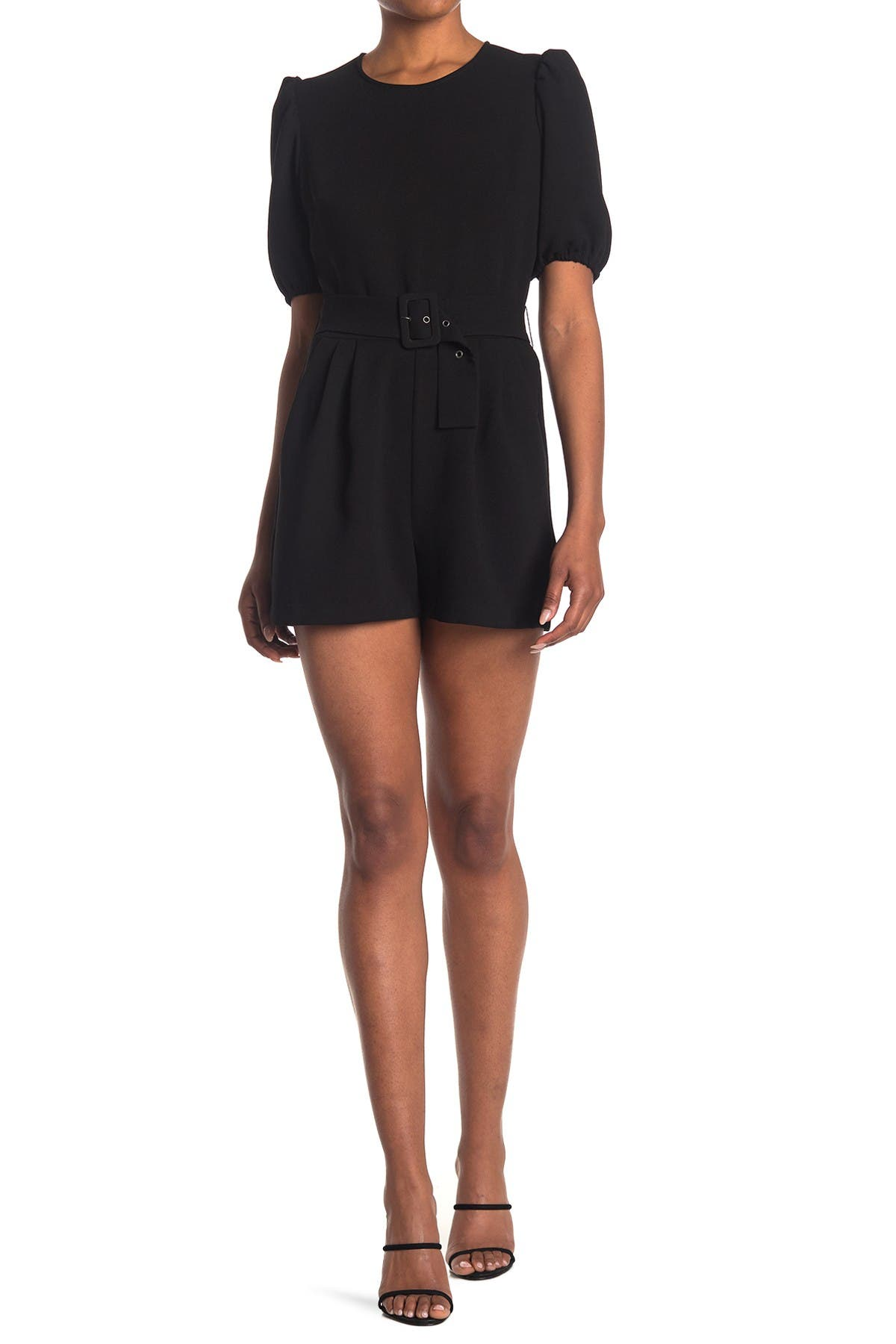 Bcbgeneration PUFF SLEEVE BELTED WOVEN ROMPER