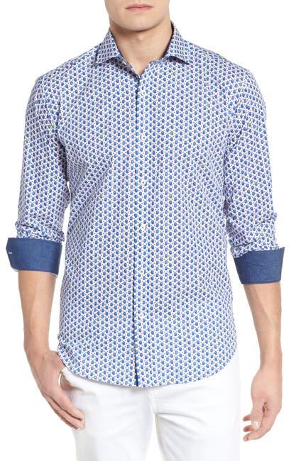 Image of Bugatchi Peaked Paisley Shaped Fit Sport Shirt