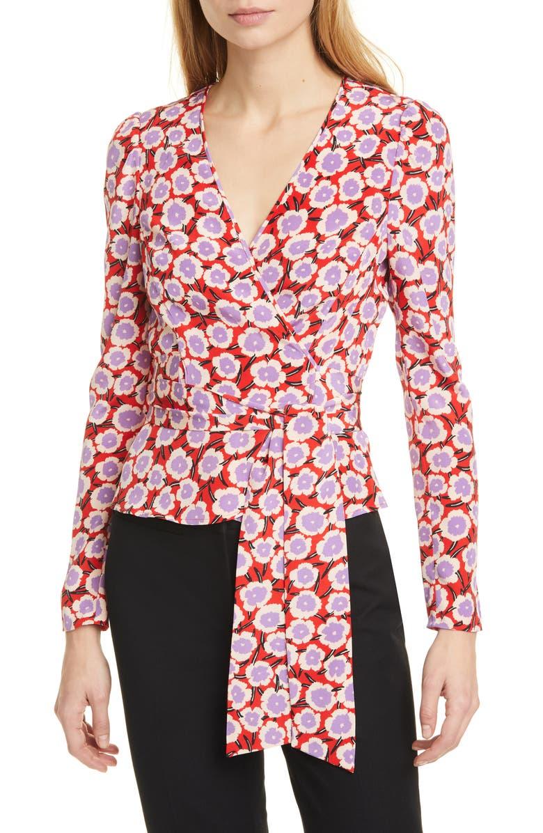 DVF Alexia Floral Silk Wrap Blouse, Main, color, 600