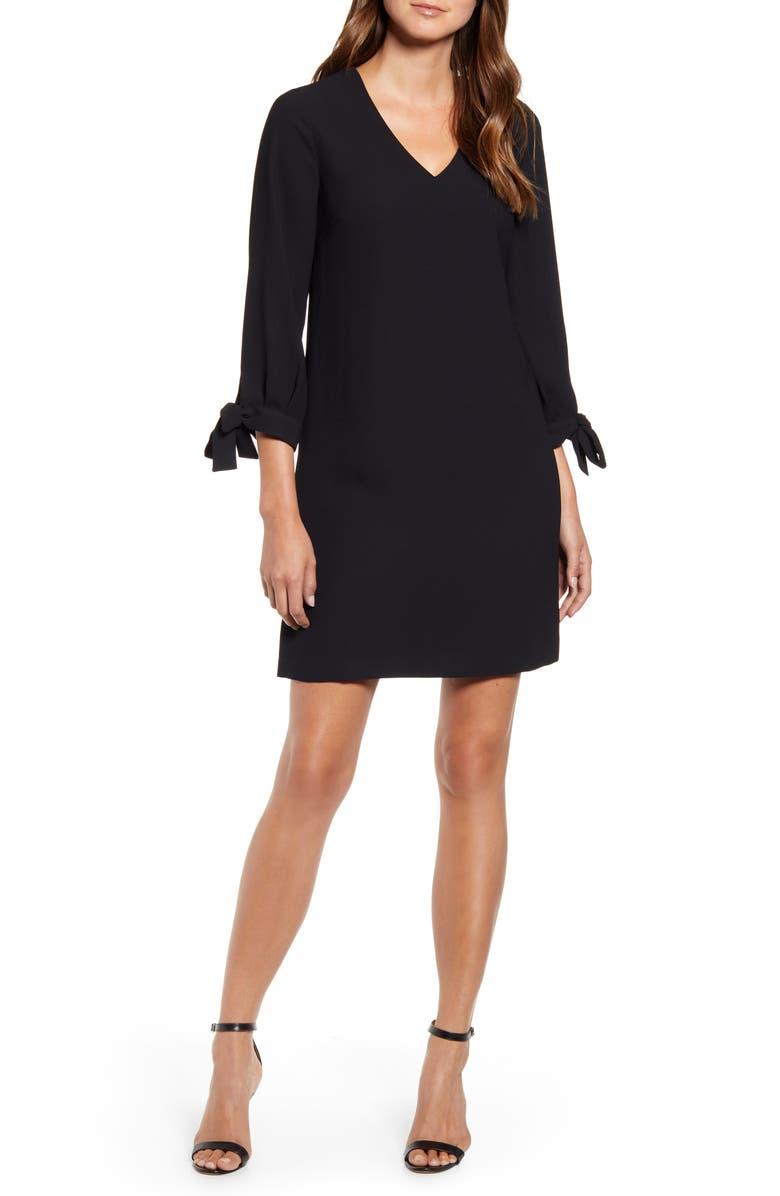CECE Tie Sleeve A-Line Dress, Main, color, RICH BLACK