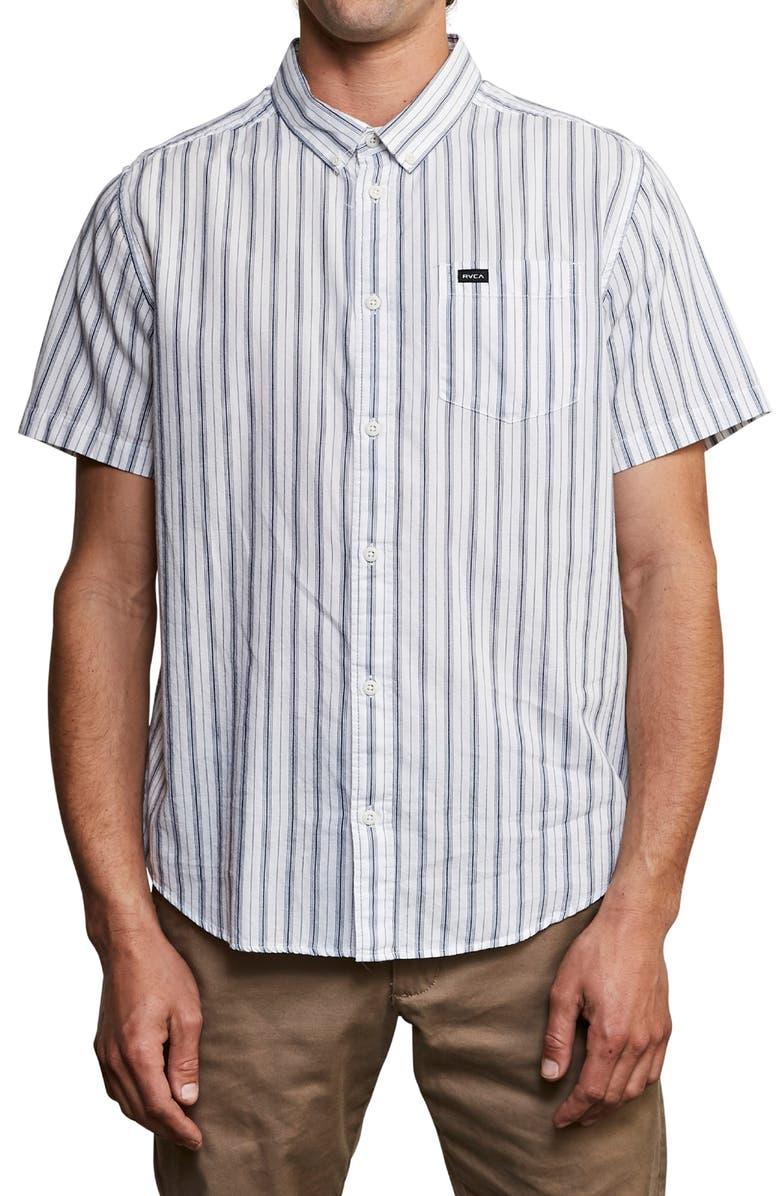 RVCA Shuffle Stripe Woven Shirt, Main, color, ANTIQUE WHITE