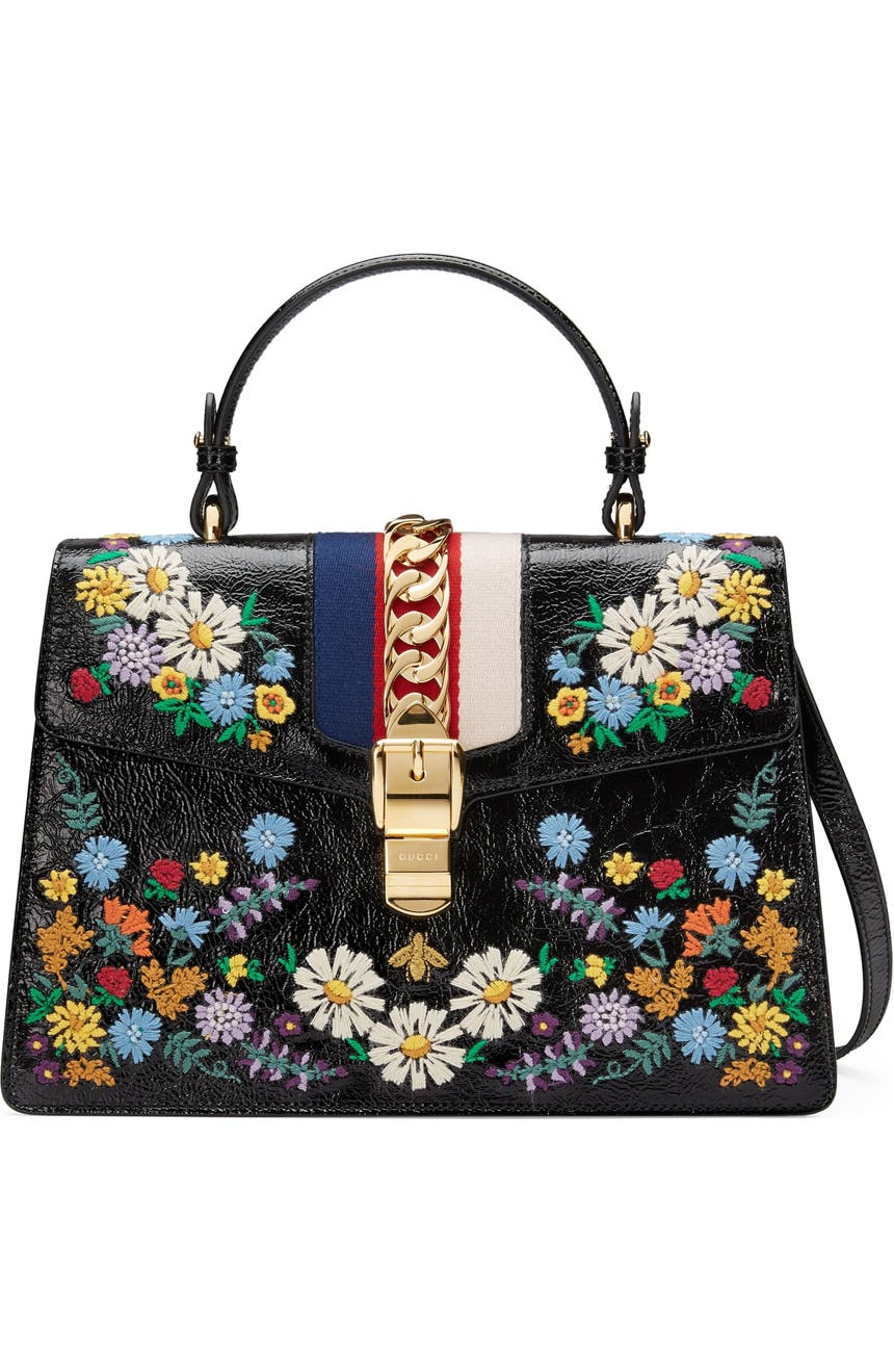 d585047cd Gucci Medium Sylvie Floral Embroidered Top Handle Leather Shoulder Bag |  Nordstrom