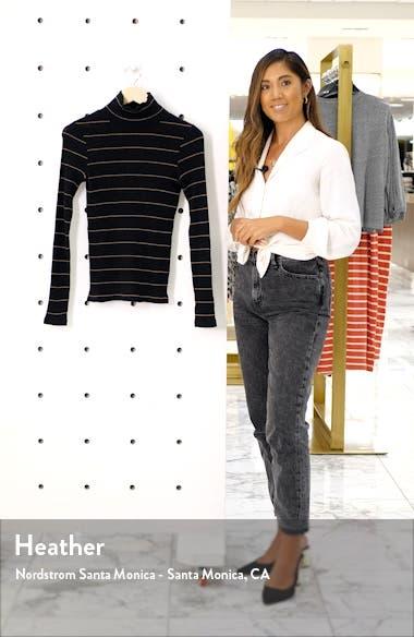 Stripe Rib Stretch Cotton Turtleneck Sweater, sales video thumbnail