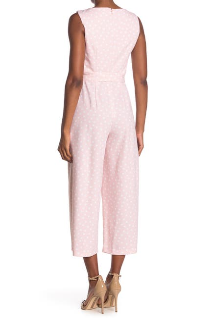 Image of Calvin Klein V-Neck Tie Belt Polka Dot Print Crop Wide Leg Jumpsuit