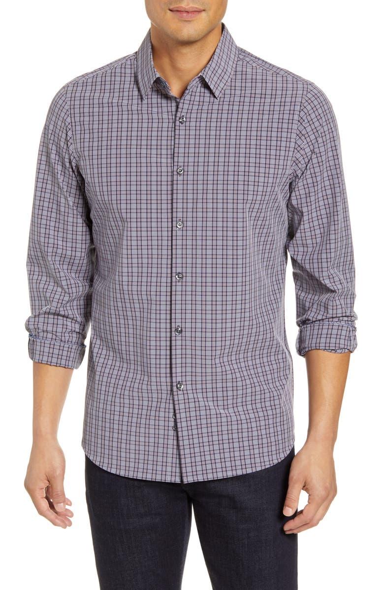MOVE PERFORMANCE APPAREL Plaid Button-Up Shirt, Main, color, GREY