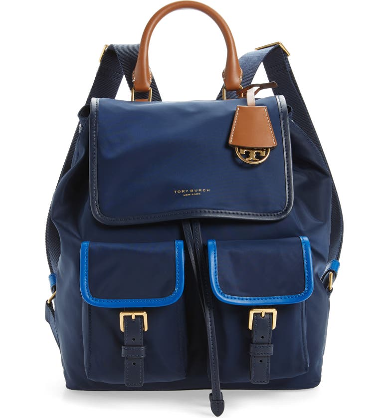 TORY BURCH Perry Colorblock Nylon Backpack, Main, color, ROYAL NAVY