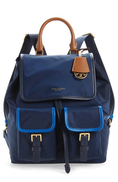 Tory Burch Backpacks PERRY COLORBLOCK NYLON BACKPACK - BLUE