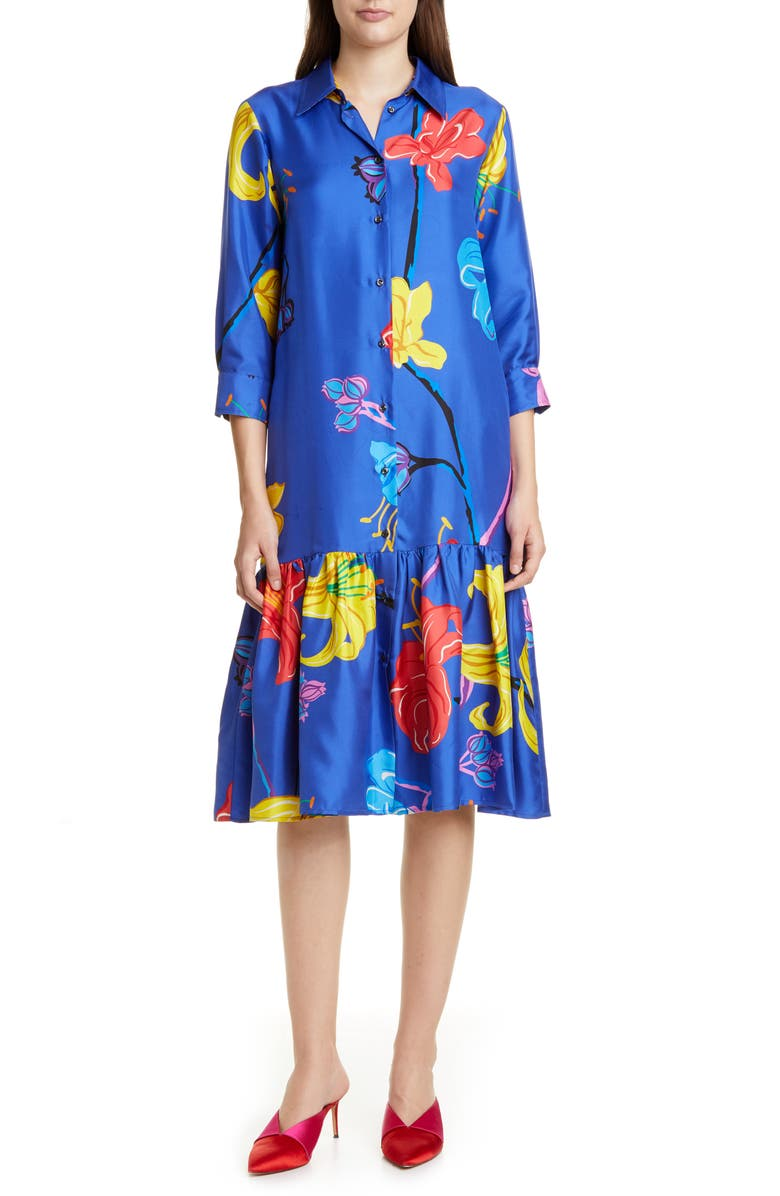 LA DOUBLEJ Getting My Croissant Floral Ruffle Silk Shirtdress, Main, color, MANEATER
