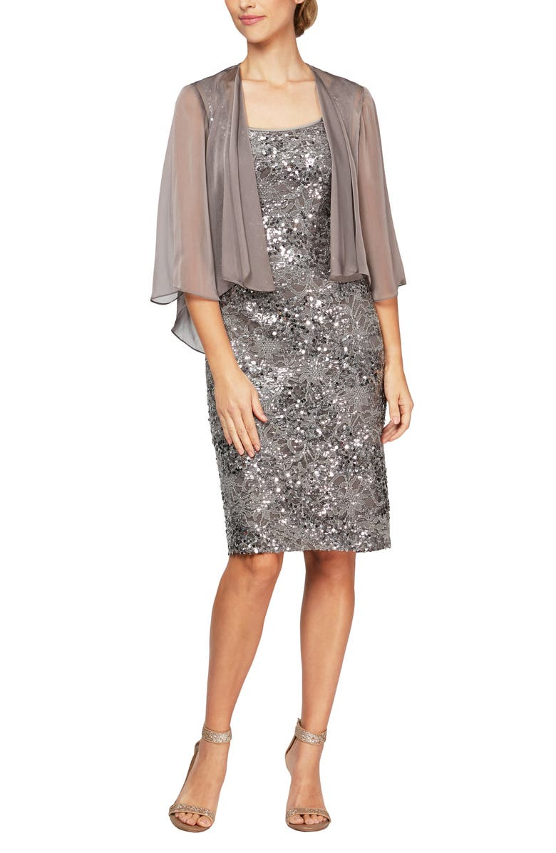 ALEX EVENINGS Shimmering Floral Lace Sheath Dress with Jacket, Main, color, CAFE