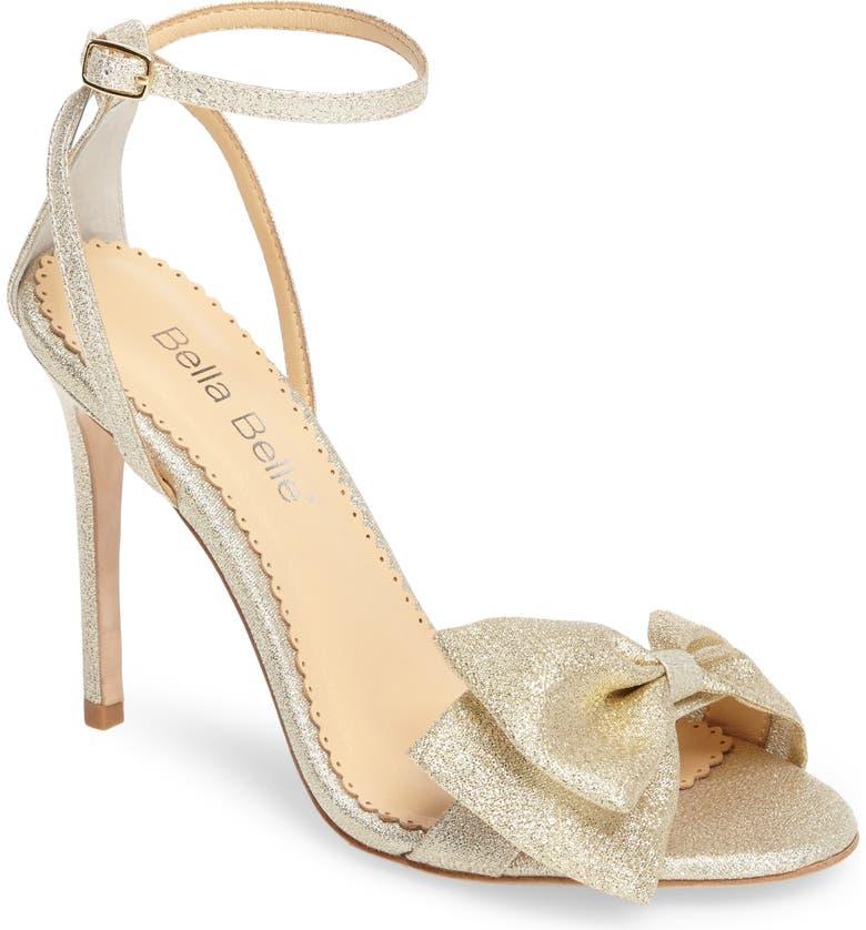 BELLA BELLE Aubrey Bow Ankle Strap Sandal, Main, color, GOLD