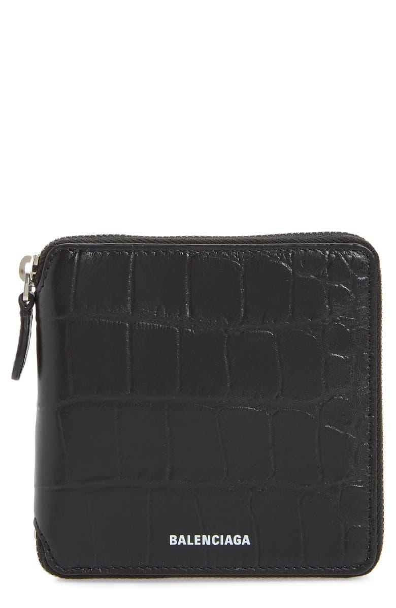 BALENCIAGA Ville Croc Embossed Leather Square Wallet, Main, color, BLACK/ L WHITE