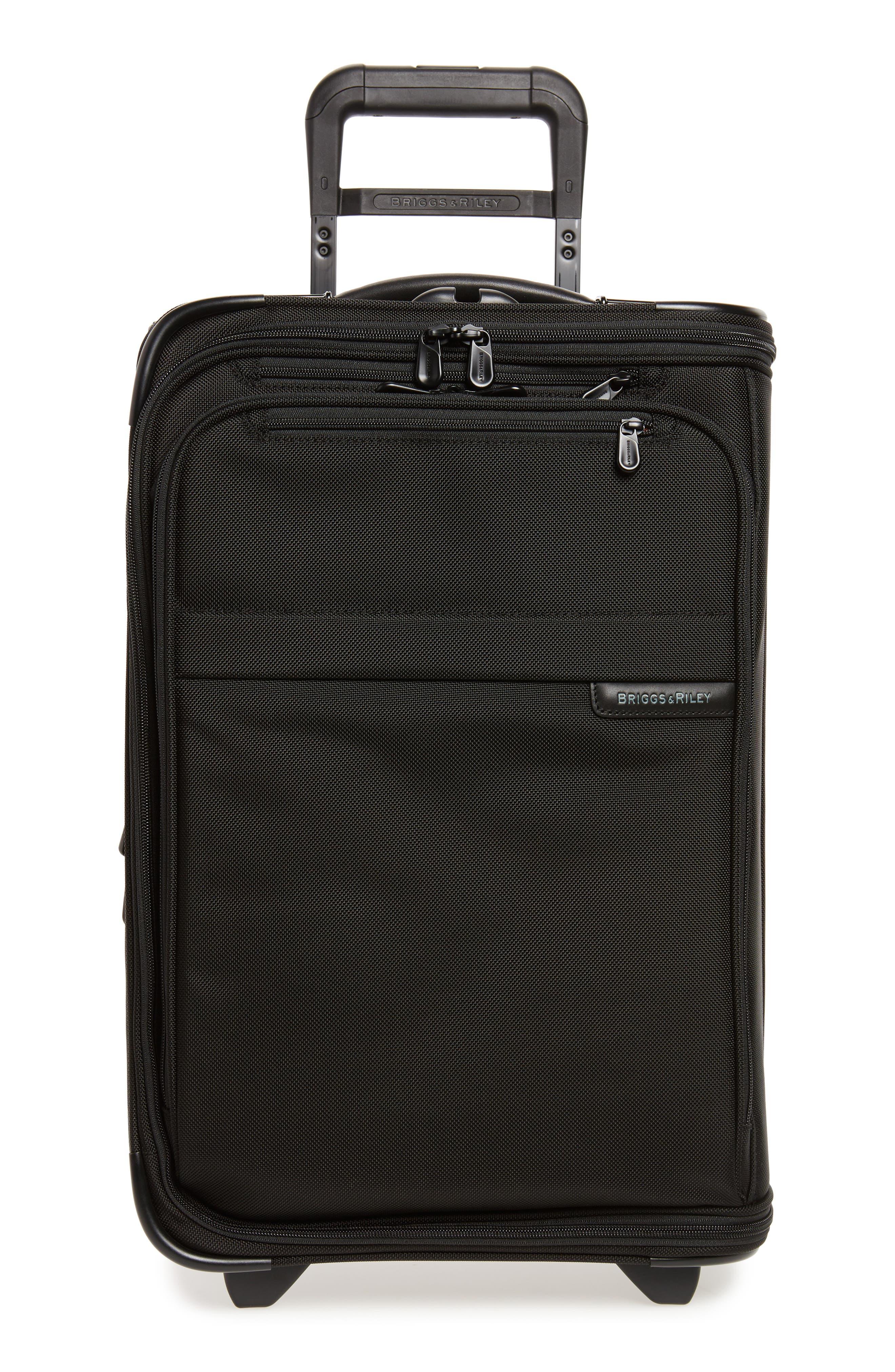 'Baseline - Domestic' Rolling Carry-On Garment Bag, Main, color, BLACK