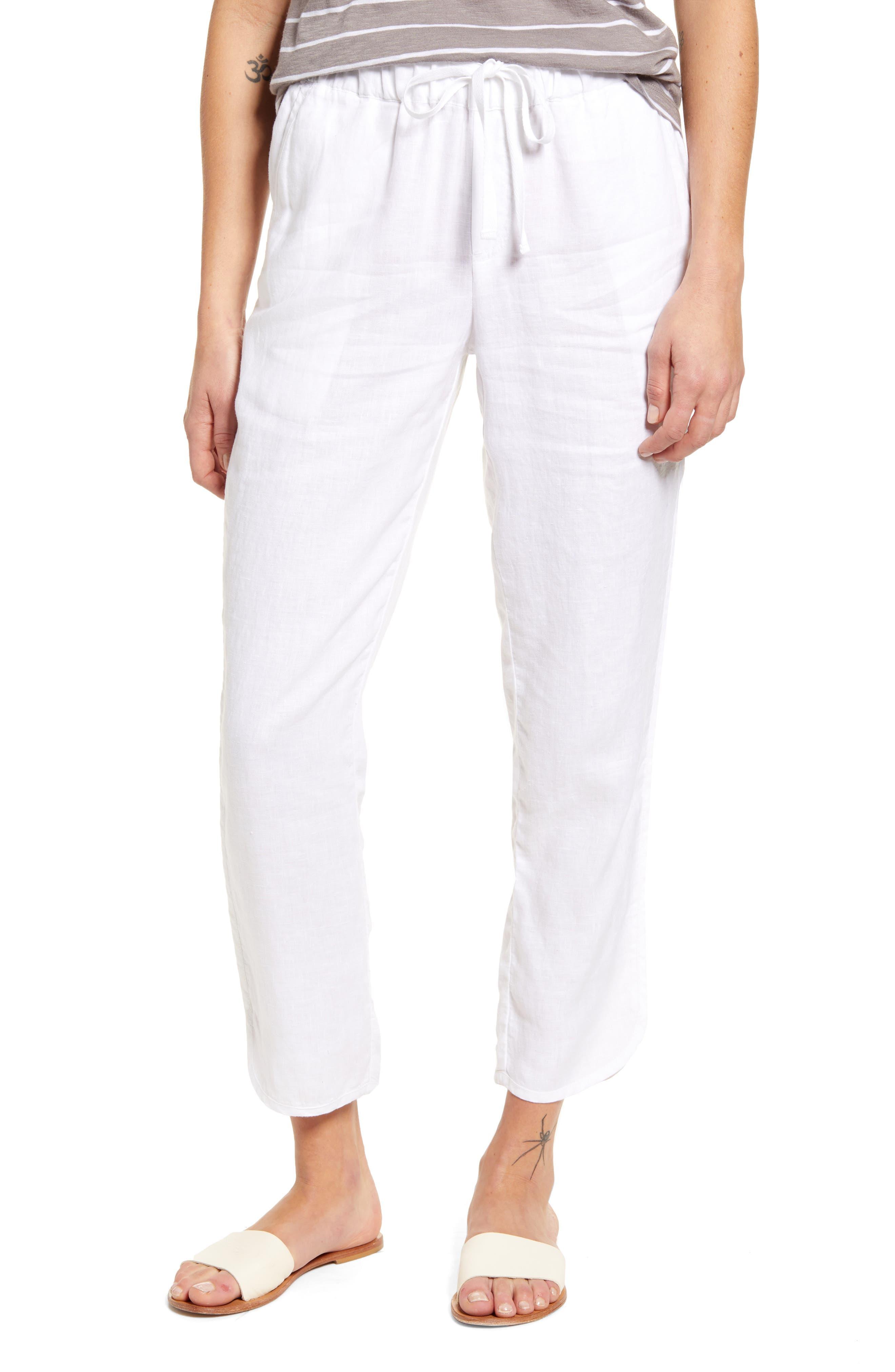 Caslon® Track Style Linen Pants (Regular & Petite)