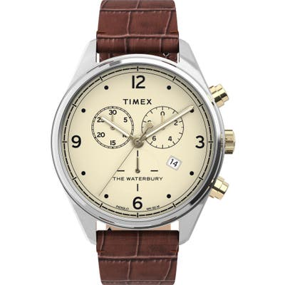 Timex Waterbury Chronograph Leather Strap Watch, 42mm