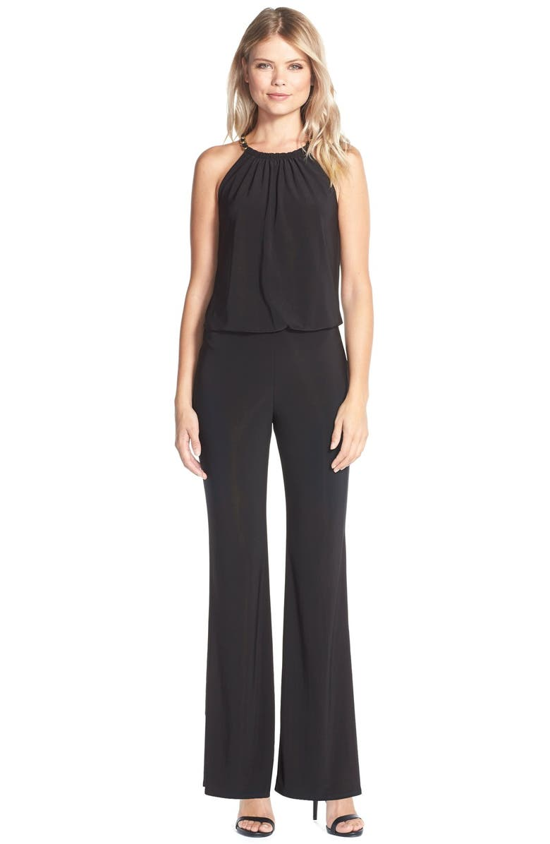 LAUNDRY BY SHELLI SEGAL Chain Detail Jersey Jumpsuit, Main, color, 001