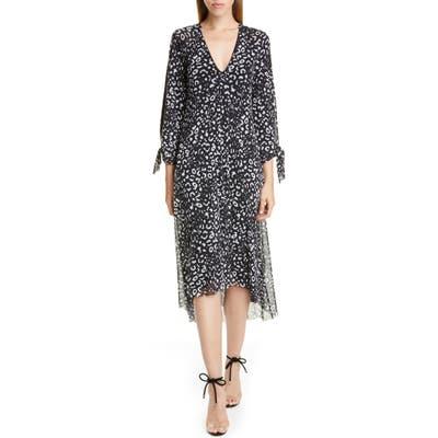 Fuzzi Leopard Print Tie Long Sleeve Midi Dress, Black