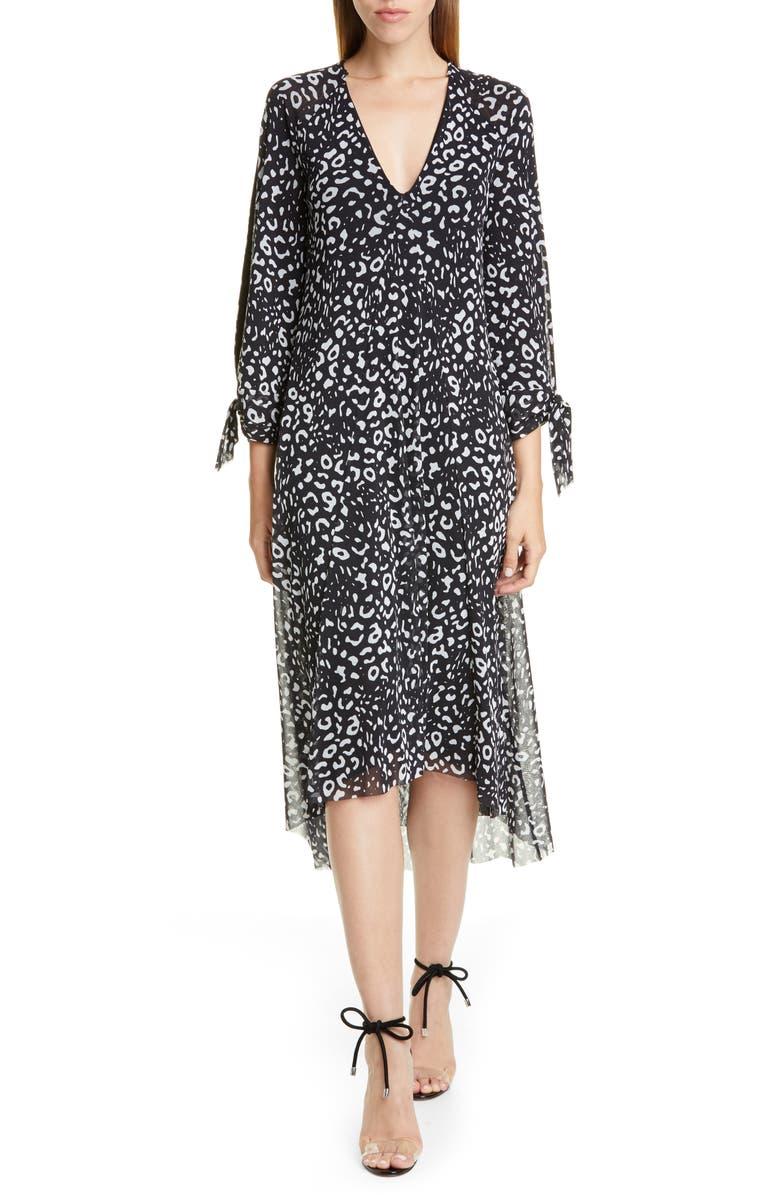 FUZZI Leopard Print Tie Long Sleeve Midi Dress, Main, color, NERO