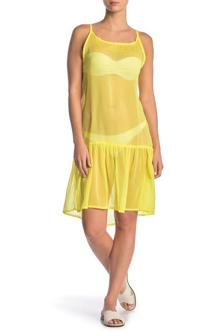 Image of Rachel Rachel Roy Sheer Flounce Hem Cover-Up Dress