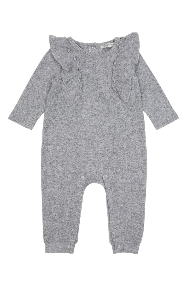 HABITUAL Mara Ruffle Hacci Knit Romper, Main, color, GREY HEATHER