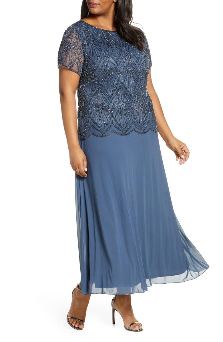 PISARRO NIGHTS Beaded Bodice Chiffon Gown, Main, color, SLATE