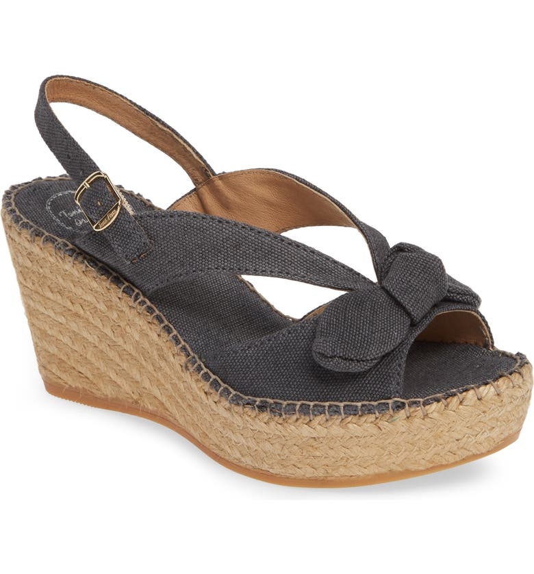 TONI PONS Lotus Wedge Sandal, Main, color, BLACK FABRIC