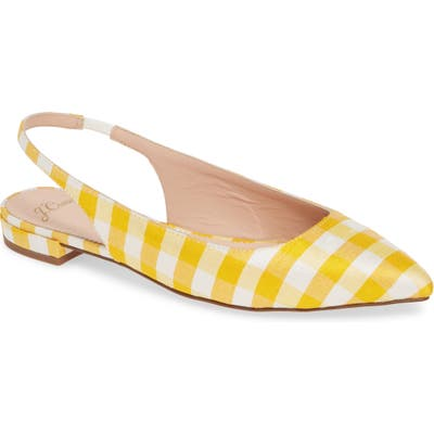 J.crew Gingham Pointed Toe Slingback Flat, Yellow