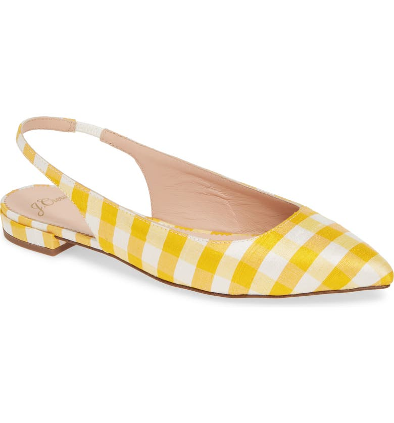 J.CREW Gingham Pointed Toe Slingback Flat, Main, color, 700