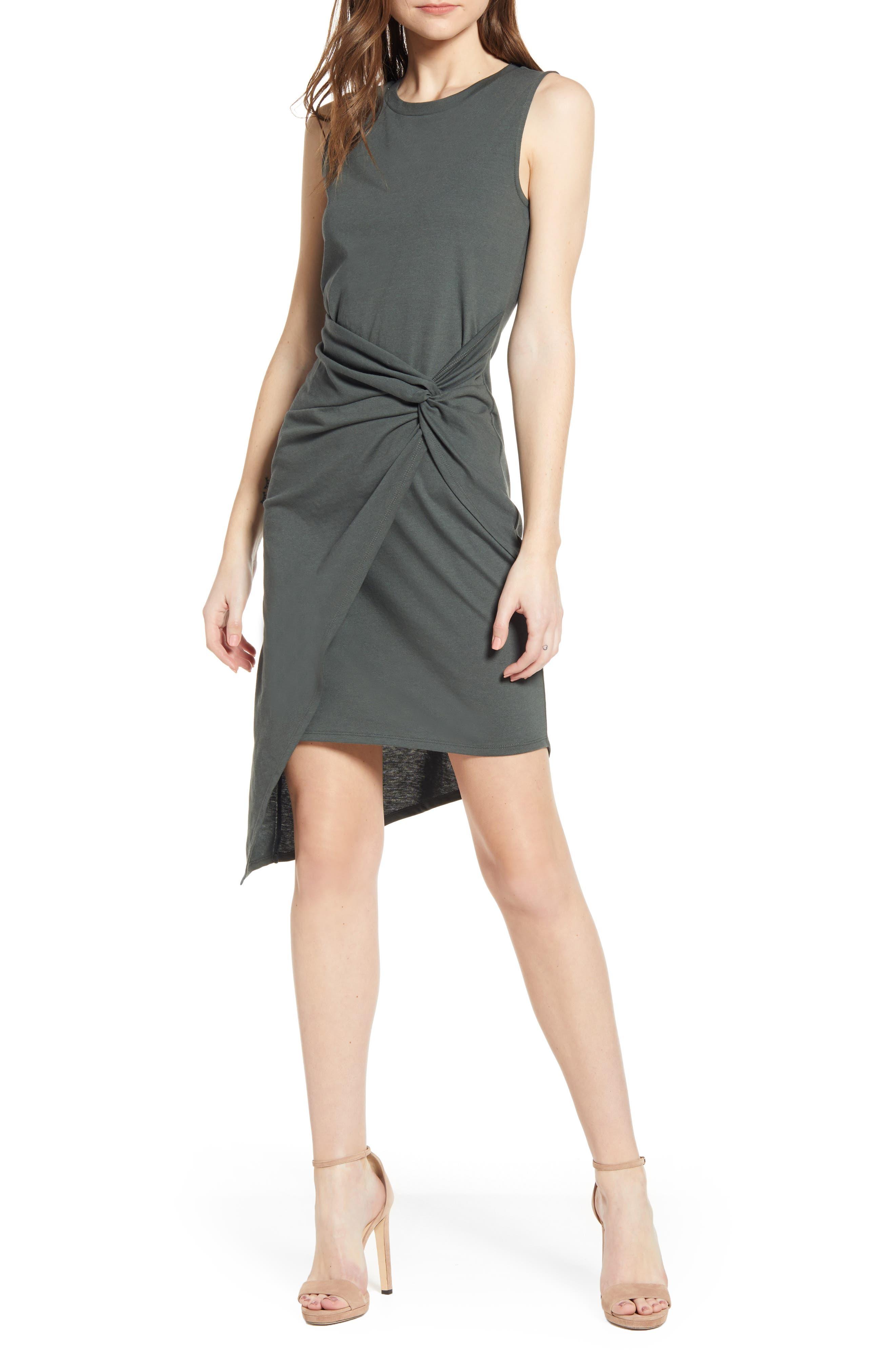 Chelsea28 Twist Front Dress, Grey