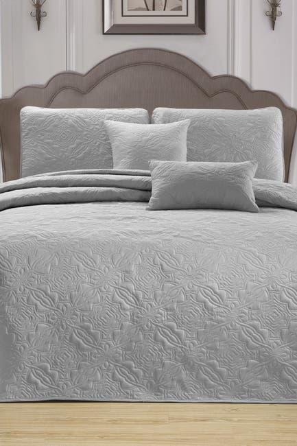 Image of Duck River Textile Carlotta 5-Piece Queen Bedspread Set - Silver