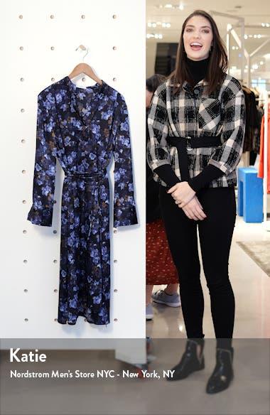 Plumeria Blooms Long Sleeve Hammered Satin Dress, sales video thumbnail
