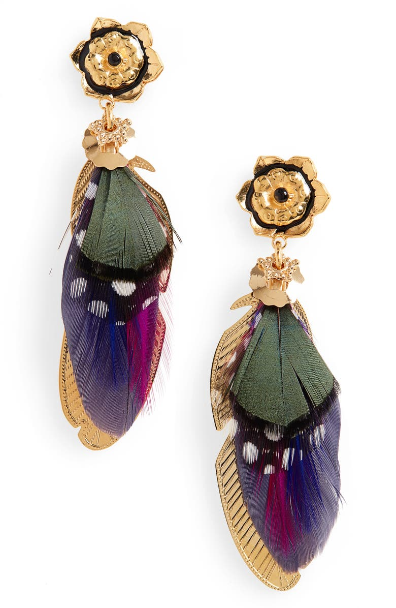 GAS BIJOUX Small Sao Feather Earrings, Main, color, 500