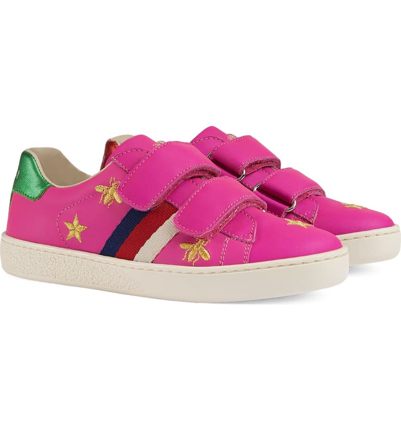 GUCCI New Ace Embroidered Sneaker, Main, color, PINK STAR