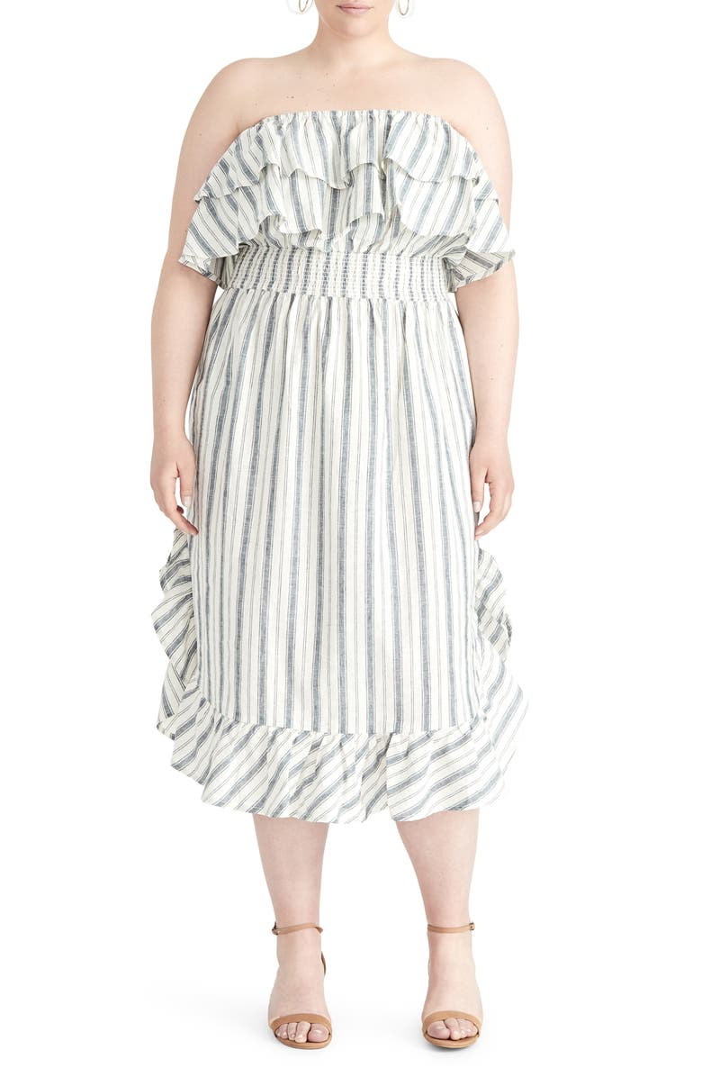 RACHEL Rachel Roy Jacinita Ruffle Neck Stripe Strapless Dress Plus Size