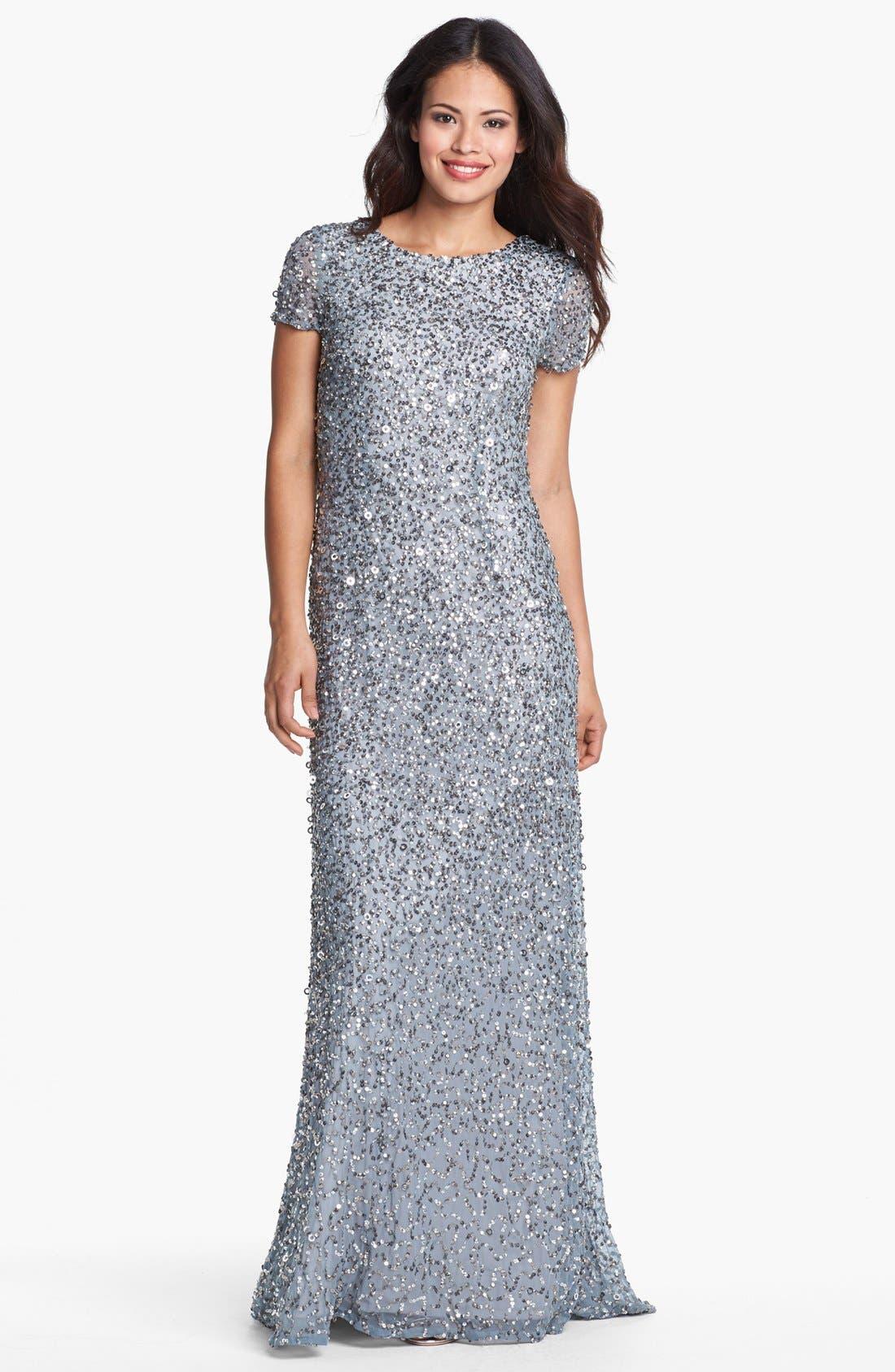 ,                             Short Sleeve Sequin Mesh Gown,                             Main thumbnail 45, color,                             400