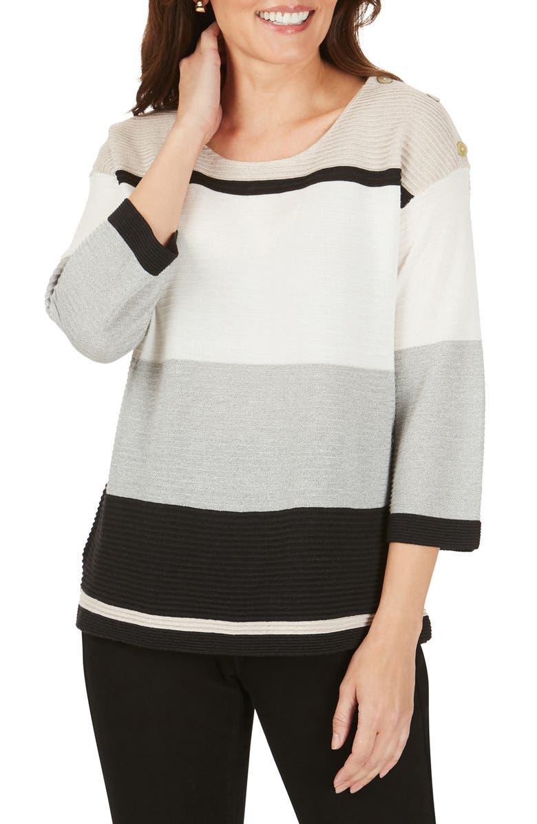 FOXCROFT Linden Colorblock Cotton Blend Sweater, Main, color, BLACK MULTI