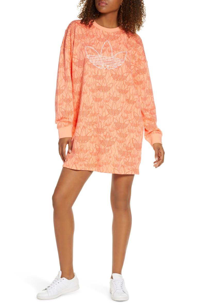 ADIDAS ORIGINALS Trefoil Logo Sweatshirt Dress, Main, color, CHALK CORAL S18/ MULTICOLOR