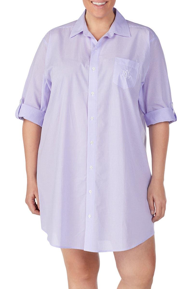 LAUREN RALPH LAUREN His Cotton Sleepshirt, Main, color, LAVENDER