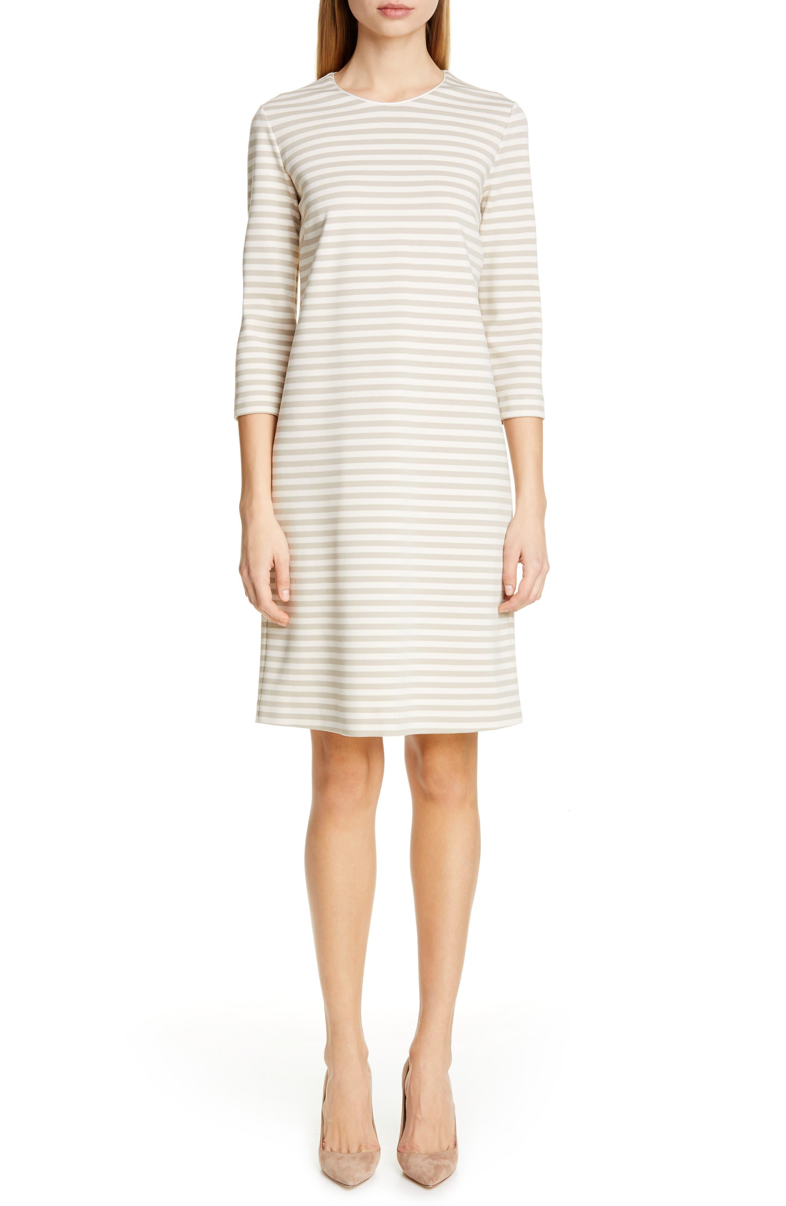 Max Mara Nella Stripe Knit Shift Dress, White