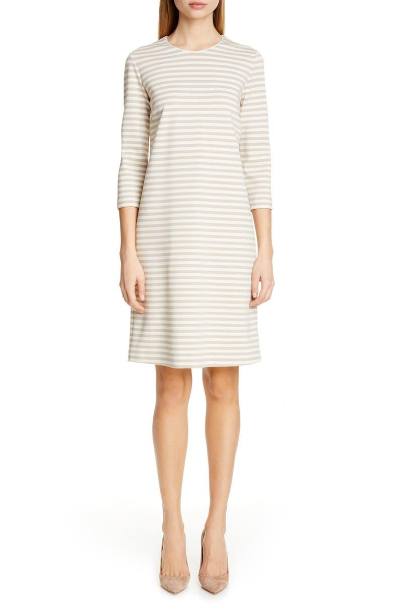 MAX MARA Nella Stripe Knit Shift Dress, Main, color, MILK