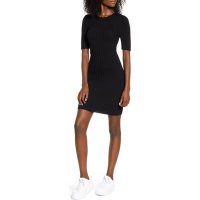 Love, Fire Ribbed Sweater Dress, Black
